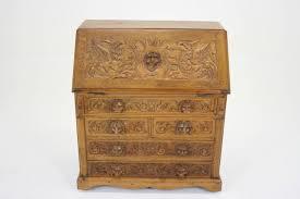 Vintage Tiger Oak Dresser by Antique Scottish Victorian Heavily Carved Oak Drop Slant Front