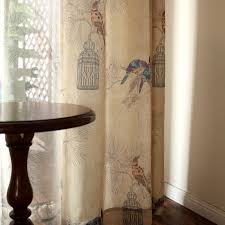 American Rustic Style Curtains For Living Room Birds Printed Drapes Home Decor Linen Color Window Curtain Single Panel In From Garden On