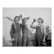 Farmers Drinking Beer 1941 Vintage Photo Poster