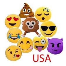 13 Inch Emoji Emoticon Pillow Round Yellow Stuffed Poop Emoji