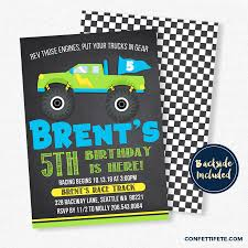 Monster Truck Invitation Monster Truck Birthday Invitation Etsy ... Monster Contruck Invitation Invite Pics Of Truck Fresh Birthday Invitations Personalized Invitation Boy By Uprint Etsy Party Ideas At In A Box 50 Off Sale 2nd Svg And Printable Clipart To Make Nice 94 In Design With Frozen Elsa Anna Trucks Food Jam Supplies Monster Truck Birthday Truck Birthday Party Invites Tonys 6th Bday