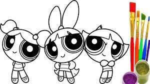 How To Draw Powerpuff Girls Coloring Book Youtube Videos For Children Art Colours