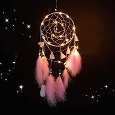 traumfänger mit led licht handgemachte dreamcatcher mit federn maiden zimmer schlafzimmer romantische dekoration für wandbehang wohnkultur