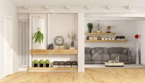 moderne wohnzimmer mit tür regale sofa und weißen holzbalken 3d rendering