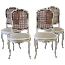 Perfect Astonishing Cane Back Dining Chairs Set Of Four Louis Xv Style French Painted