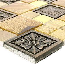 mosaikfliesen levanzo glas resin ornament mix gold wandfliesen mosaik fliesen glas mosaik fliesen bordüre ideal für die küche und badezimmer