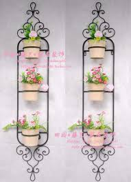 Fashion Rustic Iron Flower Stand Balcony Pot Holder Antique Wall