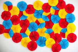 Wall Decoration Ideas Themselves Make Paper Rosettes Colored