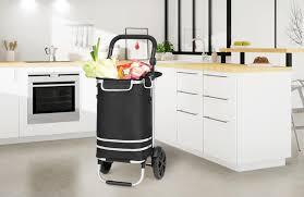 monzana 2in1 einkaufstrolley 56l bis 50 kg klappbar abnehmbare tasche handwagen einkaufswagen einkaufshilfe roller farbe schwarz