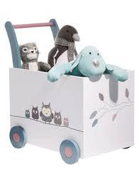 coffre a jouets bebe a roulettes hou le hibou vertbaudet acheter