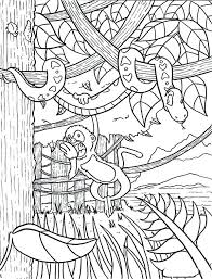 Jungle Scene Coloring Pages Print Monkey Hanging On Snake Page In Full Size
