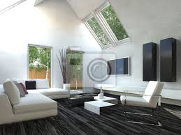 modernes design wohnzimmer mit schwarzen und weißen möbeln bilder myloview