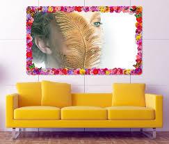 3d wandtattoo gesicht frau gold feder moderne kunst augen blumen rahmen wandbild wohnzimmer wand aufkleber 11l965 wandtattoos und
