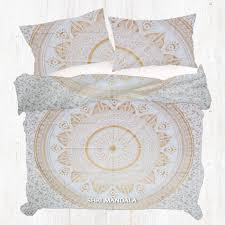White Golden Queen Mandala Duvet Cover Set Shri Mandala