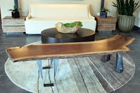 handmade custom black walnut slab bench or coffee table with live