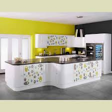 Inspiring White And Yellow Kitchen Decor With Ceramic Tile Floor Beautiful Pattern Cabinet