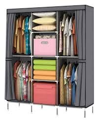 YOUUD Portable Clothes Closet Wardrobe Non woven Fabric Storage Organizer with Shelves Gray
