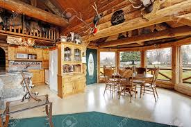 Log Cabin Kitchen Images by View Of Kitchen Room And Dining Area In Log Cabin House Furnished