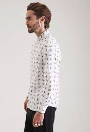 forever 21 bugs bunny collared shirt in white for men lyst