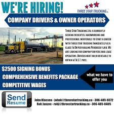 100 Star Trucking Company Three Hiring For Class 1A Drivers In SK MB