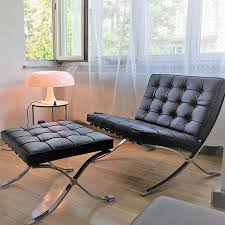 barcelona chair ottoman in schwarz barcelonachairshop