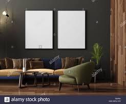 bis mock plakat in luxuriösen modernen wohnzimmer