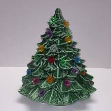 McCoy LTD USA Ceramic Christmas Tree Plastic Ornament Bulbs RARE Tabletop 10