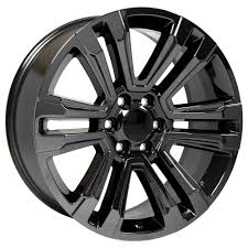 100 Black And Chrome Rims For Trucks 22x9 Wheels Tires Fit GM GMC Sierra Style PVD