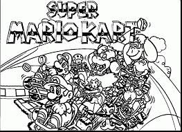 Magnificent Super Mario Kart Coloring Pages With And