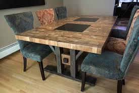 A Custom Walnut Butcher Block Style Dining Table With Granite Inserts And Reclaimed Wood Legs Regina Saskatchewan