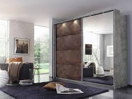 rauch meppen schwebetürenschrank spiegelschrank grey rost optik front 226x210 cm