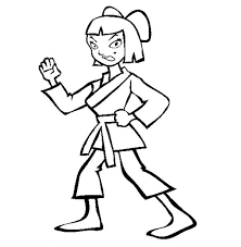 Cute Girl Karate Kid Stances Colouring Page