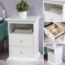 nachttisch schrank beistelltisch schlafzimmer weiß lackiert landhausstil modern