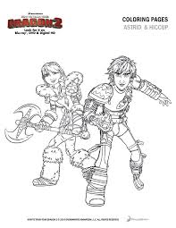 Astrid And Hiccup Coloring Sheet