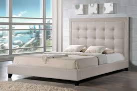 King Platform Bed With Fabric Headboard by Baxton Studio Baxton Studio Hirst Light Beige Platform Bed U2014 King