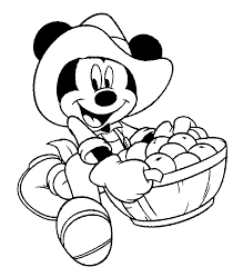 Mickey Mouse Apple Picking Coloring Sheet