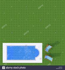 3d Exterior Rendering Plan View Of Swimming Pool With Two Beach Chairs On Green