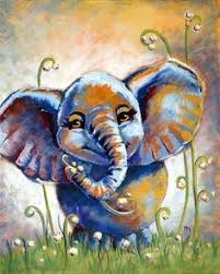 Original 3D Acrylic Canvas Painting Elephant With Balloon 10 Inch X 14 On Etsy 2261