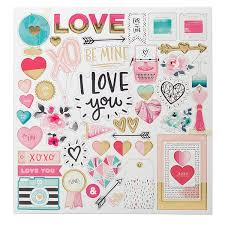 Crate Paper Hello Love Collection Chipboard Stickers With Foil Accents At Scrapbook