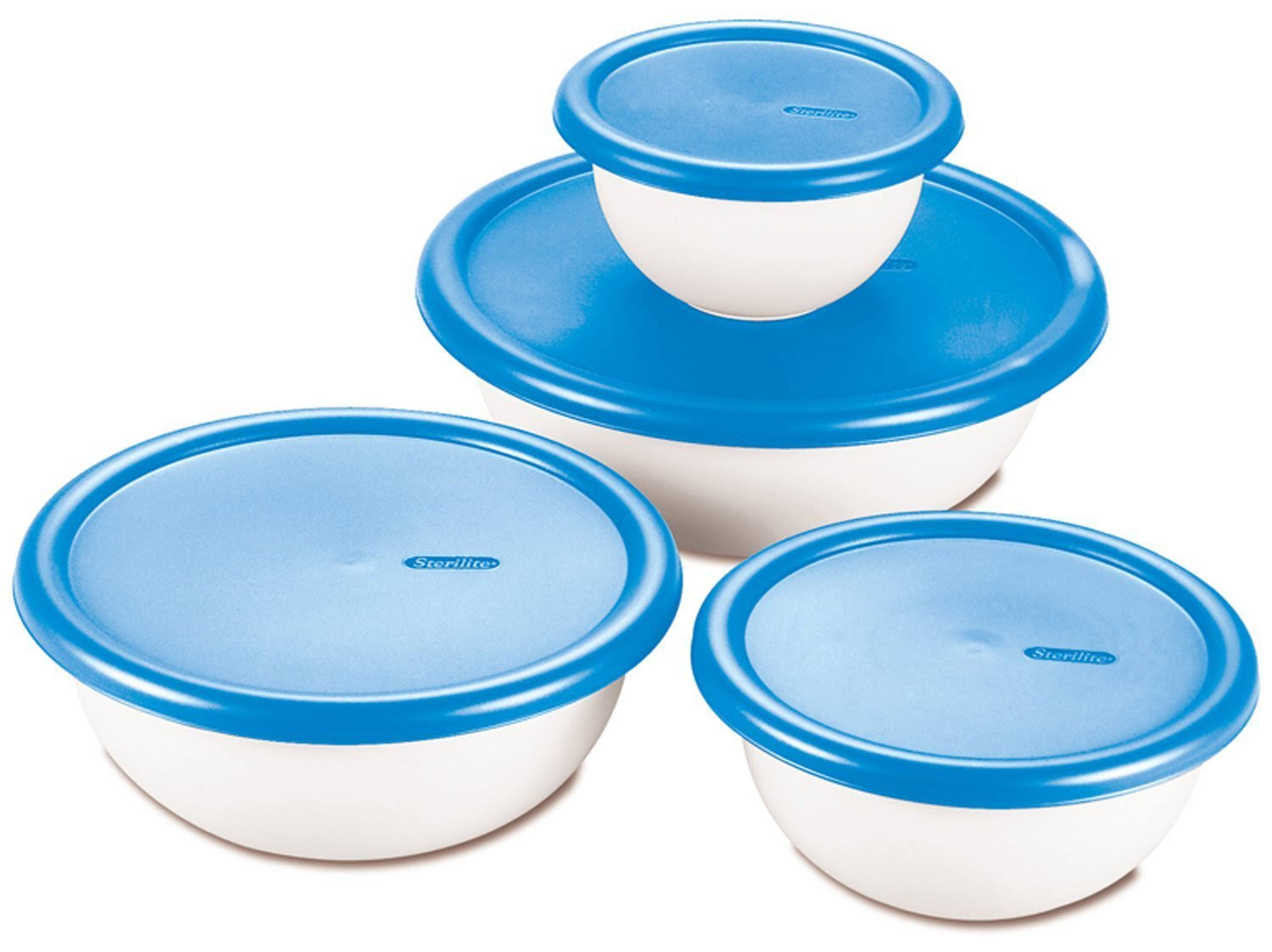 Sterilite Covered Bowl Set - White & Blue