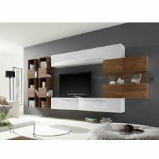 details zu wohnwand 2 infaro schrankwand anbauwand wohnzimmer weiß lack und nussbaum dunkel