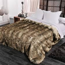 couvre lit 230 x 250 cm imitation fourrure grizzly couvre lit