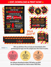 Fire Truck Invitations , Firetruck Party - Fire Truck Labels ...