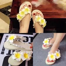 2015 fashion frangipani pearls beach wedding sandals shoes women
