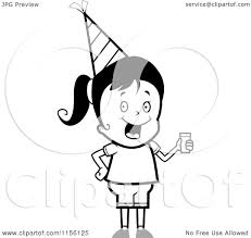 Cartoon Clipart A Black And White Cute Birthday Girl Wearing a Hat and Holding Punch Vector Outlined Coloring Page by Cory Thoman