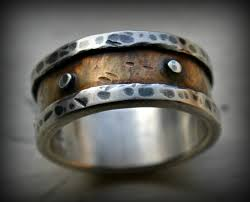 Mens Industrial Wedding Ring Rustic Fine Silver And Brass