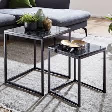 wohnling design beistelltisch 2er set schwarz marmor optik eckig couchtisch 2 teilig tischgestell metall kleine wohnzimmertische moderne