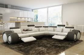 deco in canape d angle cuir blanc et gris relax