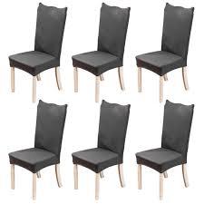 6 stück elastische moderne beschützer stuhlhussen hochzeit partys bankett deko esszimmer grau