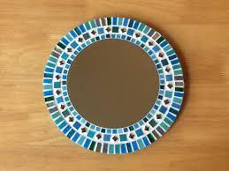 Brown Mosaic Bathroom Mirror by Mosaic Wall Mirror In Shades Of Turquoise Teal Grey U0026 Silver